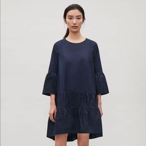 COS A Line dress with gathered seams (Navy Blue)